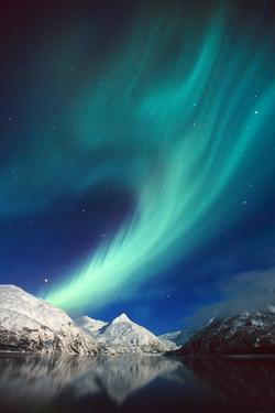 N. Lights over Portage Lake and Chugach Mtns Sc Ak Winter by Design Pics Inc