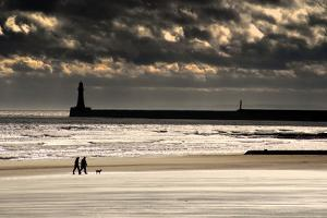 Scenic View of Sandy Beach with Lighthouse and Groyne; Sunderland, Tyne and Wear, England, Uk by Design Pics Inc