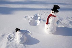 Snowmen in Forest Making Snow Angel Imprint in Snow in Late Afternoon Sunlight Alaska Winter by Design Pics Inc