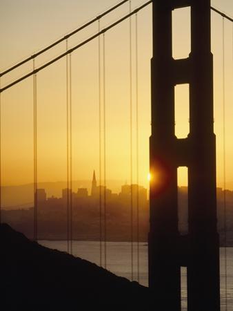 Sunrise Behind the Golden Gate Bridge with San Francisco Behind