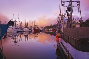 Sunrise Through the Morning Fog and Fishing Boats by Design Pics Inc
