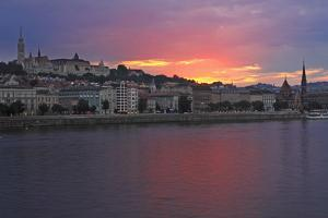 Sunset over Danube River; Budapest Hungary by Design Pics Inc