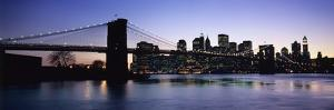 Sunset over Lower Manhattan and Brooklyn Bridge by Design Pics Inc