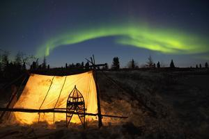 Trappers Tent Lit Up with Aurora Borealis at Wapusk National Park by Design Pics Inc