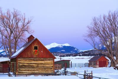 Wood Barn with Lighted Holiday Wreath and Christmas Tree on Farm at Dusk Arkansas Valley Colorado W by Design Pics Inc