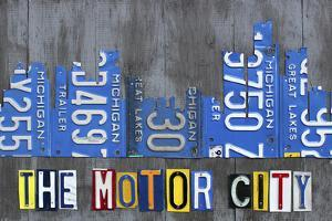 Detroit City Skyline License Plate Art by Design Turnpike