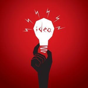 New Idea Concept Men Head in Bulb by Designaart