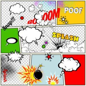 Grunge Retro Comic Speech Bubbles. Vector Illustration on Strip Background. Abstract Talking Clouds by Designer_things