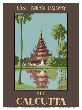 See Calcutta, India - Burmese Pagoda in Eden Gardens - East Indian Railway by Desmond Doig