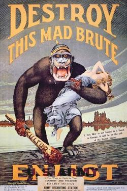 'Destroy This Mad Brute', World War One Recruitment Poster