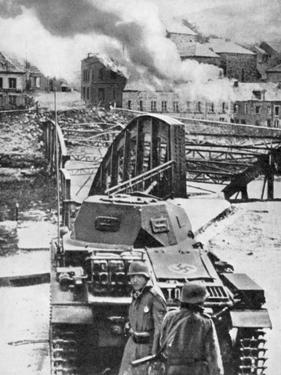 Destruction of Bridge over River Meuse by Belgians to Stop German Advance, World War 2, 1940