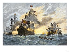 Destruction of John Smith's Ship by the Spanish, Ending His New England Venture