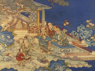 Detail from a Chinese Kesi Coloured Silk Panel Depicting Daoist Immortals