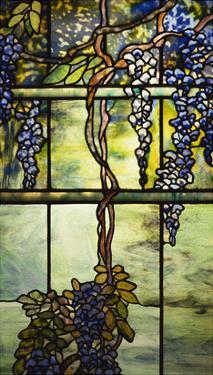 Detail from a Fine Leaded Glass Triptych Window (Wisteria)
