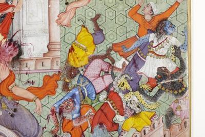 Detail from Krishna Cleaves the Demon Narakasura with His Discus, C.1585-90