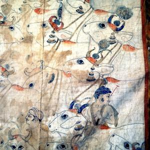 Detail of a Temple Cloth in Which Krishna Plays His Flute Among the Cows and Herdsmen with Whom…