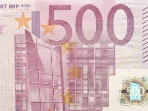 Detail of a Traditional Five Hundred Euro Banknote