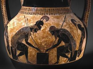 Detail of Etruscan Vase Depicting Achilles and Ajax Playing Dice