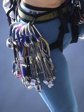 Detail of Female Rock Climber and Equipment
