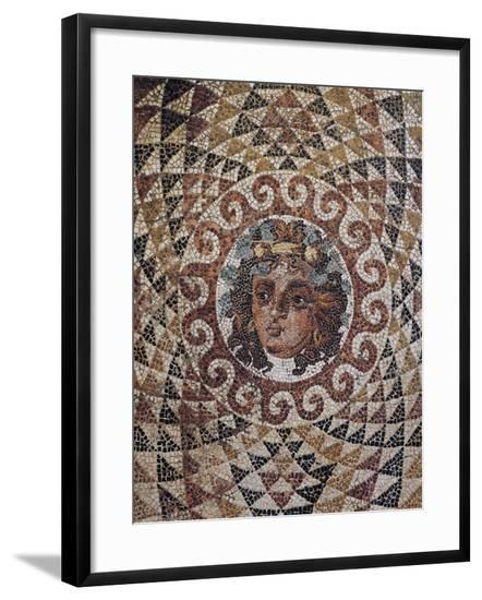 Detail of Geometric Mosaic with Dionysus at Centre Discovered in Roman Villa in Corinth, Greece--Framed Giclee Print