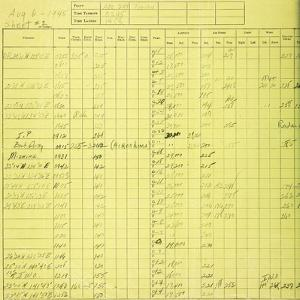 Detail of Sheet 2 from the Navigator's Log of the B-29 Bomber