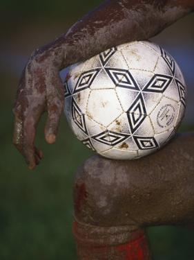 Detail of Soccer Playerand Ball