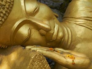 Detail of Statue of Buddha, Phu Si Hill, Luang Prabang, UNESCO World Heritage Site, Laos, Indochina