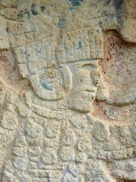 Detail of Stone Relief, Ancient Mayan Ruins, Chichten Itza, Yucatan, Mexico