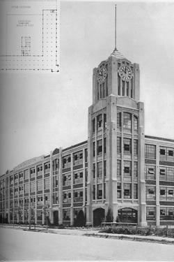 Detail of tower and typical floor plan, AM Creighton Building, Lynn, Massachusetts, 1923
