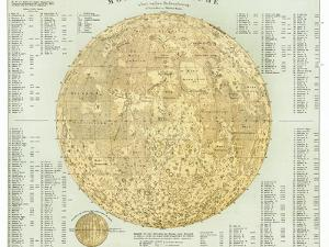 19th Century Map of the Moon by Detlev Van Ravenswaay