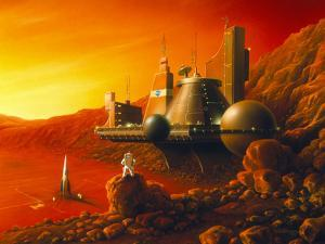 Artwork of a Space Colony on the Surface of Mars by Detlev Van Ravenswaay