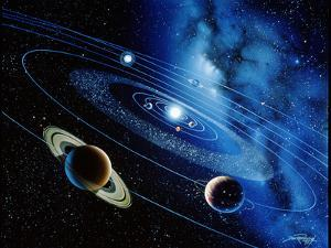 Artwork of the Solar System with Planetary Orbits by Detlev Van Ravenswaay