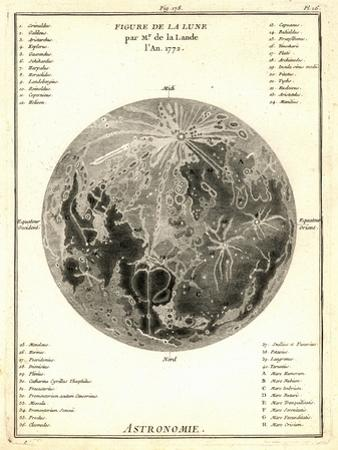 Early Map of the Moon, 1772 by Detlev Van Ravenswaay