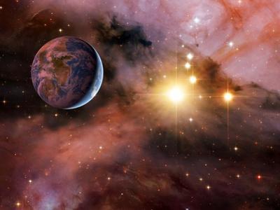 Earthlike Alien Planet, Artwork by Detlev Van Ravenswaay