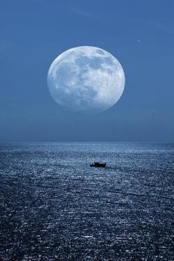 Full Moon Rising Over the Sea by Detlev Van Ravenswaay