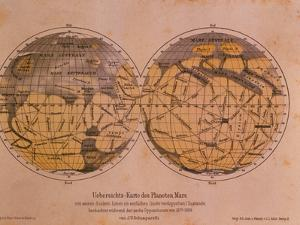 Historical Artwork of Canals on Surface of Mars by Detlev Van Ravenswaay