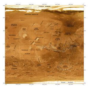 Mars Topographical Map, Satellite Image by Detlev Van Ravenswaay