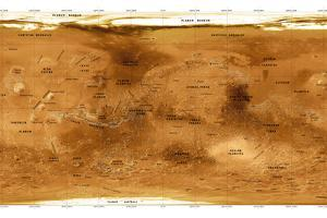 Mars Topographical Map, Satellite Image by Detlev Van Ravenswaay