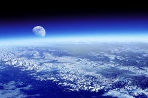 Moon Rising Over Earth's Horizon by Detlev Van Ravenswaay