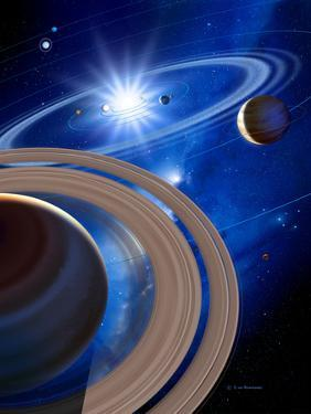 Saturn And Solar System by Detlev Van Ravenswaay