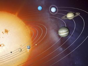 Solar System Orbits, Artwork by Detlev Van Ravenswaay