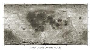 Spacecraft on the Moon, Lunar Map by Detlev Van Ravenswaay