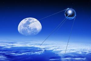 Sputnik 1 Satellite, Composite Image by Detlev Van Ravenswaay
