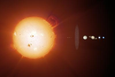 Sun And Planets, Size Comparison by Detlev Van Ravenswaay