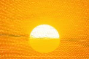 Sunset Reflection on Solar Panel, Artwork by Detlev Van Ravenswaay
