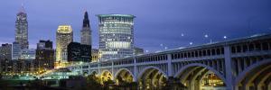 Detroit Avenue Bridge Lit Up at Dusk, Cleveland, Ohio, USA