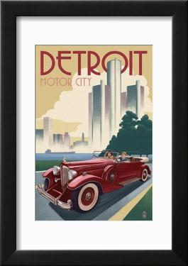 Detroit  Michigan - Vintage Car and Skyline