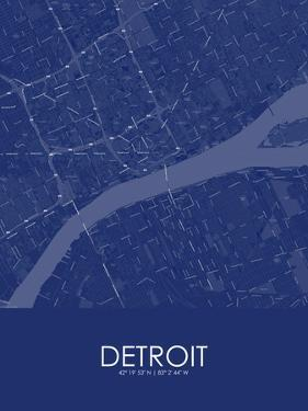 Detroit, United States of America Blue Map