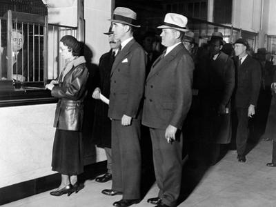 Detroit Workers Line Up at the New Chrysler Emergency Bank at Tellers Window