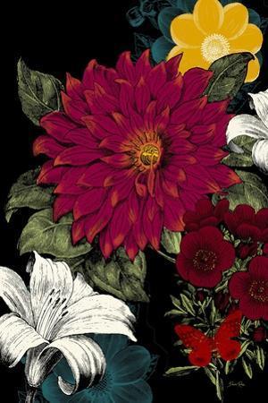 Vibrant Florals Black 1 by Devon Ross